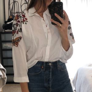 Zara embroidered blouse